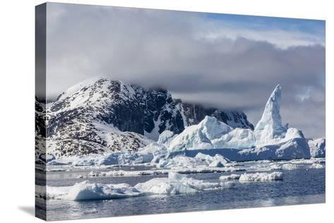 Huge Iceberg Amongst Sea Ice in the Yalour Islands-Michael Nolan-Stretched Canvas Print