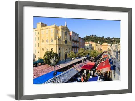 Outdoor Restaurants Set Up in Cours Saleya-Amanda Hall-Framed Art Print