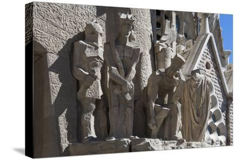 Tableaux in Carved Stone Near the Entrance to Sagrada Familia, Barcelona, Catalunya, Spain, Europe-James Emmerson-Stretched Canvas Print