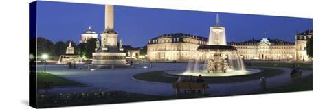Schlossplatz Square and Neues Schloss Castle, Stuttgart, Baden Wurttemberg, Germany, Europe-Markus Lange-Stretched Canvas Print