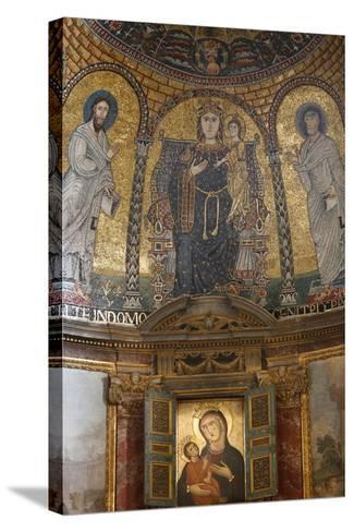 Mosaic of Mary and Jesus, Santa Francesca Romana Church, Rome, Lazio, Italy, Europe-Godong-Stretched Canvas Print