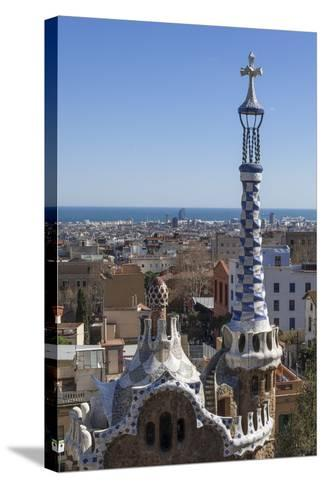 Multi Coloured and Patterned Glazed Ceramic Work Decorates a Roof in Parc Guell-James Emmerson-Stretched Canvas Print