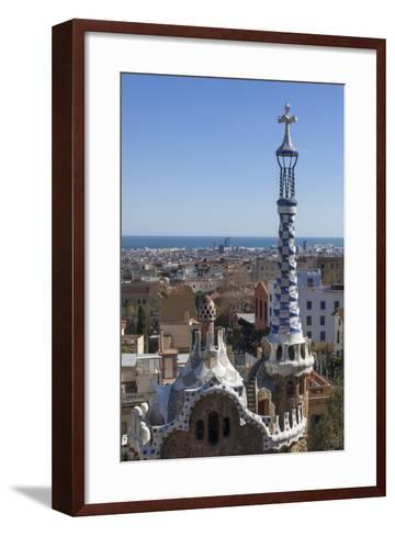 Multi Coloured and Patterned Glazed Ceramic Work Decorates a Roof in Parc Guell-James Emmerson-Framed Art Print