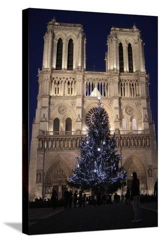 Christmas Tree, Notre-Dame De Paris Cathedral, Paris, France, Europe-Godong-Stretched Canvas Print