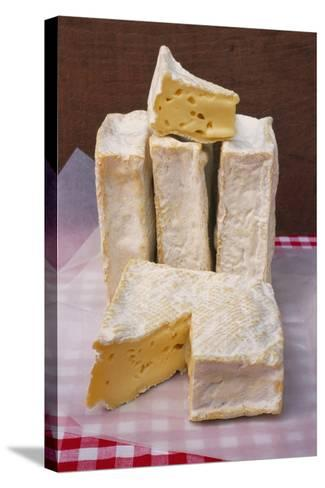 Slices of Pont L'Eveque Cheese-Guy Thouvenin-Stretched Canvas Print
