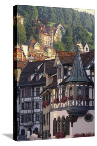 Tudor Exterior of Buildings in Town of St Gallen in Switzerland-John Miller-Stretched Canvas Print