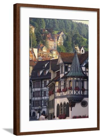 Tudor Exterior of Buildings in Town of St Gallen in Switzerland-John Miller-Framed Art Print