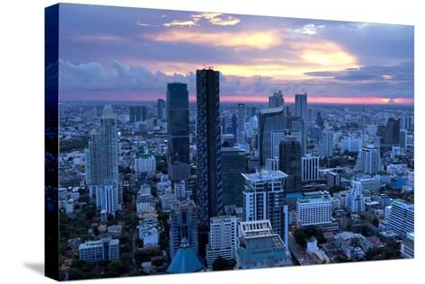 View over Bangkok at Sunset from the Vertigo Bar on the Roof the Banyan Tree Hotel-Lee Frost-Stretched Canvas Print