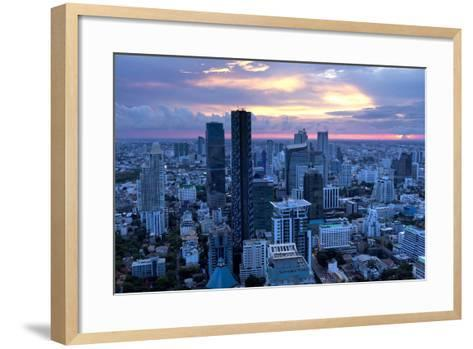 View over Bangkok at Sunset from the Vertigo Bar on the Roof the Banyan Tree Hotel-Lee Frost-Framed Art Print