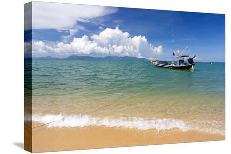 Traditional Long-Tailed Fishing Boat Moored Off Maenam Beach on the North Coast of Koh Samui-Lee Frost-Stretched Canvas Print