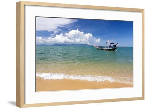 Traditional Long-Tailed Fishing Boat Moored Off Maenam Beach on the North Coast of Koh Samui-Lee Frost-Framed Art Print