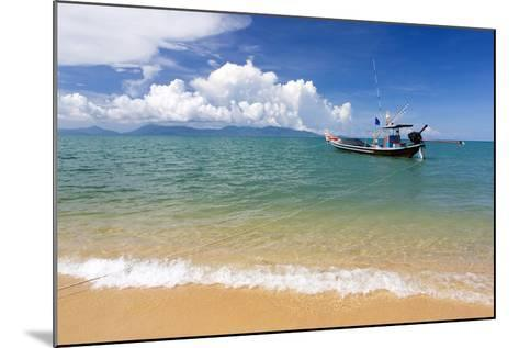 Traditional Long-Tailed Fishing Boat Moored Off Maenam Beach on the North Coast of Koh Samui-Lee Frost-Mounted Photographic Print