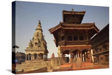 Moonlit View of Durbar Square, Bhaktapur, UNESCO World Heritage Site, Kathmandu Valley, Nepal, Asia-Ian Trower-Stretched Canvas Print