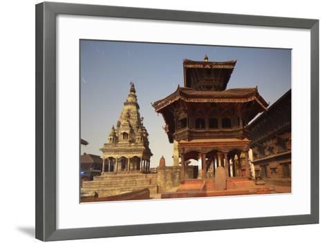 Moonlit View of Durbar Square, Bhaktapur, UNESCO World Heritage Site, Kathmandu Valley, Nepal, Asia-Ian Trower-Framed Art Print