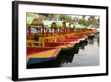 Line of Colourful Boats at the Floating Gardens in Xochimilco-John Woodworth-Framed Art Print