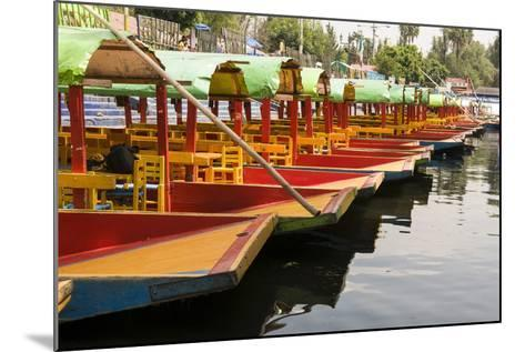 Line of Colourful Boats at the Floating Gardens in Xochimilco-John Woodworth-Mounted Photographic Print