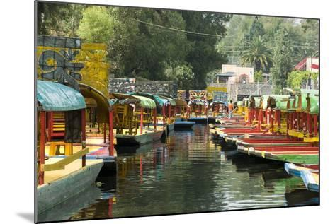 Colourful Boats at the Floating Gardens in Xochimilco-John Woodworth-Mounted Photographic Print