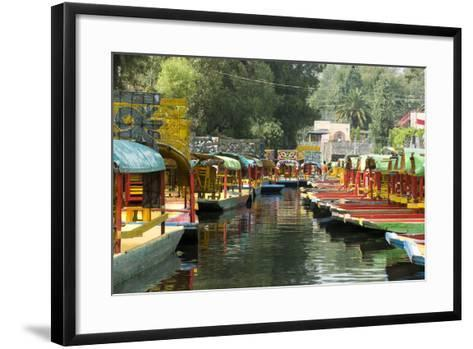 Colourful Boats at the Floating Gardens in Xochimilco-John Woodworth-Framed Art Print