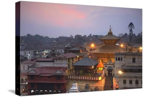 Pashupatinath Temple at Dusk, UNESCO World Heritage Site, Kathmandu, Nepal, Asia-Ian Trower-Stretched Canvas Print