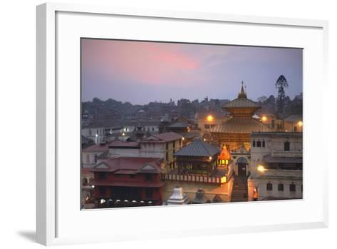 Pashupatinath Temple at Dusk, UNESCO World Heritage Site, Kathmandu, Nepal, Asia-Ian Trower-Framed Art Print