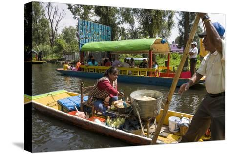 Food Vendor at the Floating Gardens in Xochimilco-John Woodworth-Stretched Canvas Print