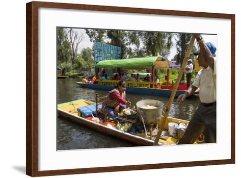 Food Vendor at the Floating Gardens in Xochimilco-John Woodworth-Framed Art Print