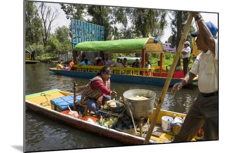 Food Vendor at the Floating Gardens in Xochimilco-John Woodworth-Mounted Photographic Print