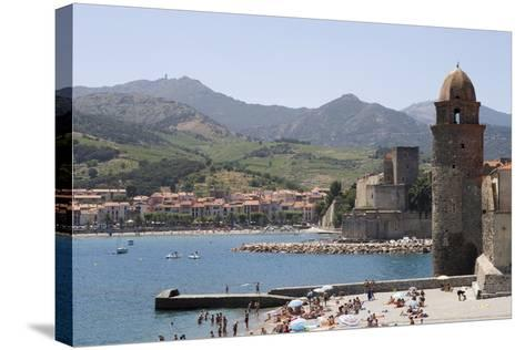 Beach and Eglise Notre-Dame-Des-Anges-Martin Child-Stretched Canvas Print