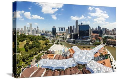 Elevated View over Fort Canning Park and the Modern City Skyline, Singapore, Southeast Asia, Asia-Gavin Hellier-Stretched Canvas Print