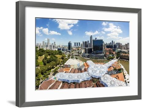 Elevated View over Fort Canning Park and the Modern City Skyline, Singapore, Southeast Asia, Asia-Gavin Hellier-Framed Art Print