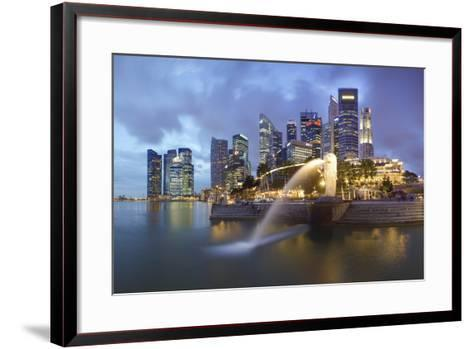 The Merlion Statue with the City Skyline in the Background-Gavin Hellier-Framed Art Print