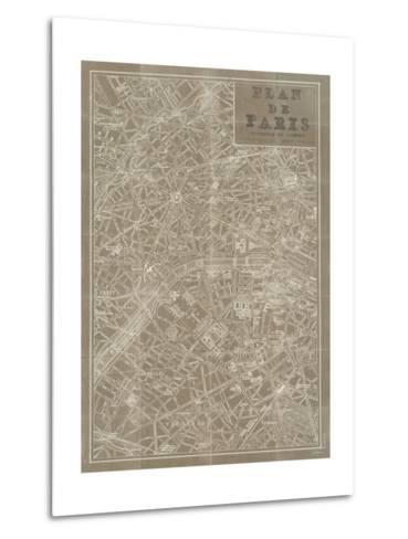 Blueprint Map Paris Taupe-Sue Schlabach-Metal Print