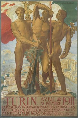 Turin Poster-Adolfo De Karolis-Stretched Canvas Print