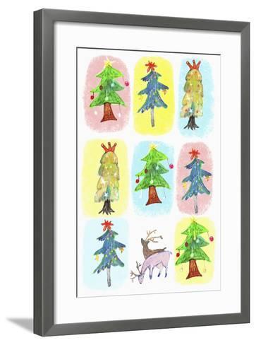 Sticker Icon Pack of Christmas Trees--Framed Art Print