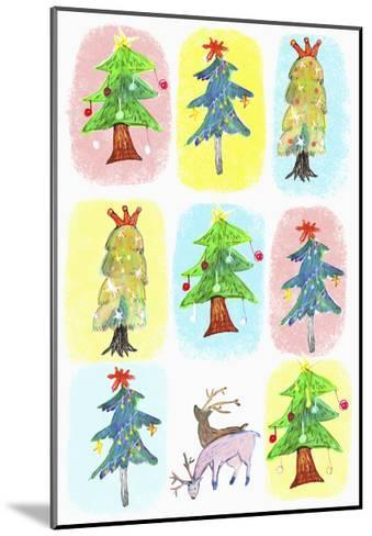 Sticker Icon Pack of Christmas Trees--Mounted Giclee Print