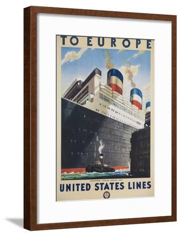 To Europe United States Lines Poster--Framed Art Print