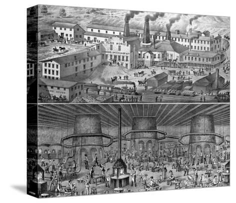 The Glassworks of J. H. Hobbs, Brockunier, and Co., Wheeling, West Virginia--Stretched Canvas Print