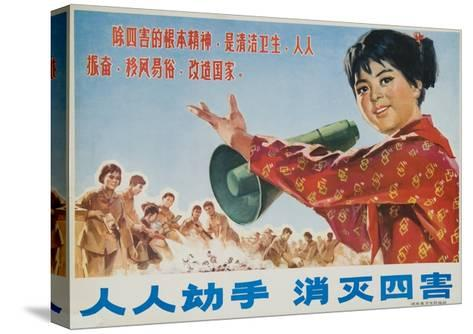 Everyone Together to Kill the 4 Evils, Original Chinese Cultural Revolution--Stretched Canvas Print