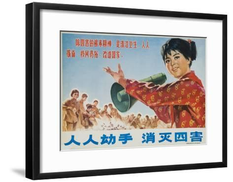 Everyone Together to Kill the 4 Evils, Original Chinese Cultural Revolution--Framed Art Print