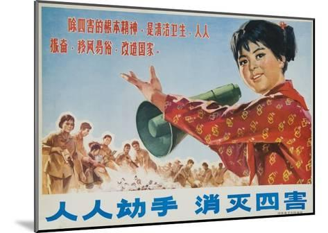 Everyone Together to Kill the 4 Evils, Original Chinese Cultural Revolution--Mounted Giclee Print