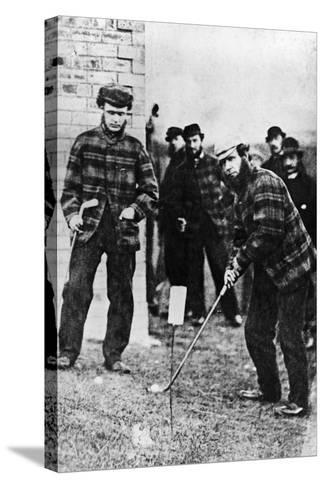 Tom Morris Preparing to Swing His Golf Club--Stretched Canvas Print