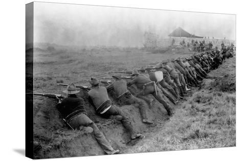 American Soldiers Practicing Shooting During Spanish-American War--Stretched Canvas Print