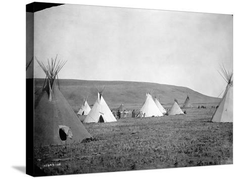 Atsina Camp Scene-Edward S^ Curtis-Stretched Canvas Print