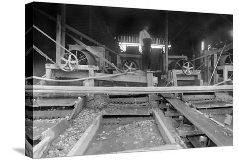 A Worker Stands over a Rock or Gravel Processing Facility, Ca. 1910--Stretched Canvas Print