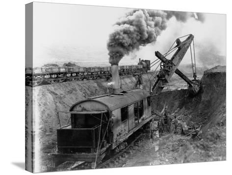 Steam Shovel Digging Ditch for Western Pacific Railroad--Stretched Canvas Print