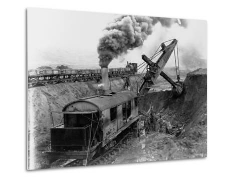 Steam Shovel Digging Ditch for Western Pacific Railroad--Metal Print