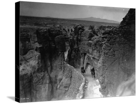 Old Trail at Acoma-Edward S^ Curtis-Stretched Canvas Print