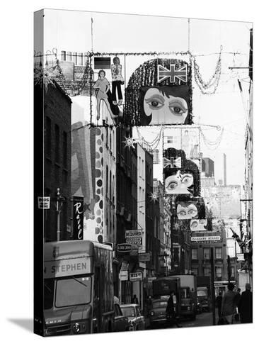 Christmas Decorations Along Carnaby Street in Soho--Stretched Canvas Print