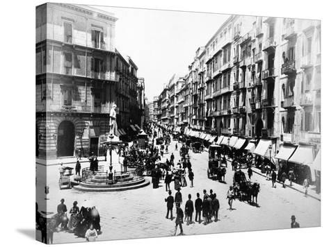 Via Roma, Naples, About 1880--Stretched Canvas Print