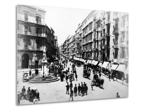 Via Roma, Naples, About 1880--Metal Print